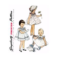 1950s Toddlers Dress and Bonnet Pattern Simplicity by CynicalGirl, $24.00