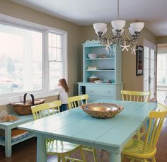 painted dining room furniture annie summery blue chalk paintr decorative paint - Paint Dining Room Table