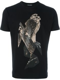 NEIL BARRETT Bird Print T-Shirt. #neilbarrett #cloth #t-shirt