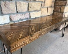 The Hairpin Herringbone Bench will make a great addition to your entry way or any other focal point. This bench is Long, Deep, and Tall Message us with questions or customization! Mirrored Furniture, Refurbished Furniture, Farmhouse Furniture, Ikea Furniture, Pallet Furniture, Industrial Bench, Pvc Panels, Entry Bench, Decorative Panels