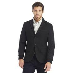 Three-Button Blazer with Nylon Sleeves