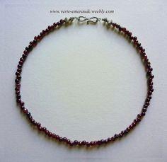 Collier en Grenat rond Rouge et Arg 925 Fin Silver Garnet Necklace