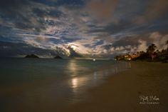 My Wife's Pic of Lanikai Oahu HI During the Full Moon Rise [OC][4608 x 3072]