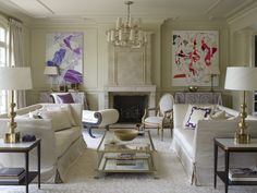 French Living Room in Greenwich, CT by Suzanne Kasler Interiors