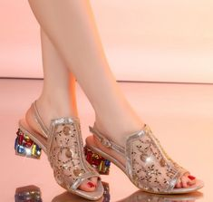 Cheap open toe, Buy Quality sandals crystal directly from China shoes open toe Suppliers: Women Lace Open Toe Leather Shoes Crystal With Chunky Heels Sandals Heel High Rhinestone Shoes, Bling Shoes, Funky Shoes, Trendy Shoes, Casual Shoes, Jelly Shoes Outfit, Strappy Heels, High Heels, Sneaker Heels