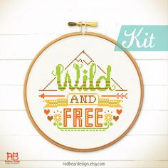 Funny Quote Cross stitch KIT  Wild And Free  by redbeardesign