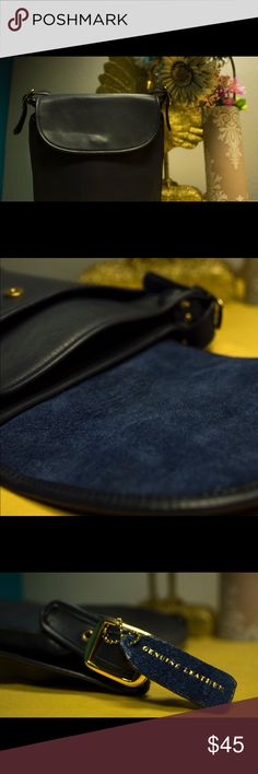 No label large dark blue messenger bag No label large dark blue messenger bag with gold chain detail. 100% genuine leather. Large sized, like new mint condition. Bags Satchels