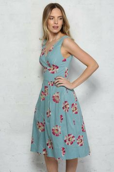 I love the colours. I think i'd wear this with my hair up in a 1940s style victory roll. And a cropped cashmere cardigan.  #duckeggblue #1940sdress #vintagestyledress #bridesmaiddress #weddingoutfit #ad #retrochic