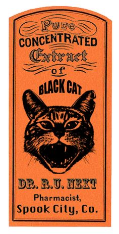 apothecary labels for some Halloween fun, a free printable download from Redbudart #freeprintables #halloweenprintables #apothecarylabels #blackcat