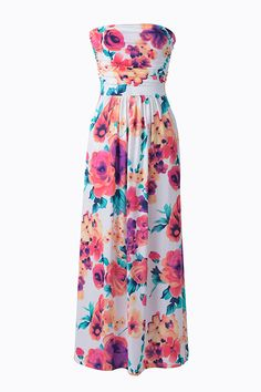 #AdoreWe #CupShe CupShe Floral to Ceiling Strapless Maxi Dress - AdoreWe.com