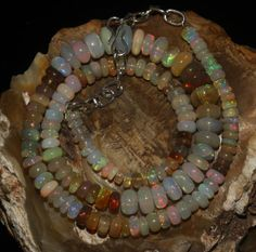 """87 Crts 1 Strands 4 to 9 mm 14"""" Beads necklace Ethiopian Welo Fire Opal 60341"""