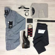 Layers - the answer to 'who know's what the weather will do?' Light layers mix it up. Thin knits can go on top or under the shirt try it. #trampsmenswear #wollongong #flatlay #casualwear #weekends