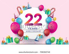 22nd years Anniversary Celebration Design with balloons and gift box, Colorful design elements for banner and invitation card.