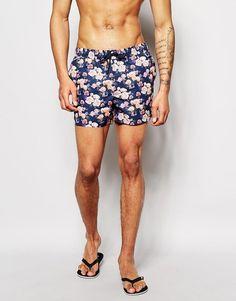ASOS | ASOS Swim Shorts In Short Length With Floral at ASOS