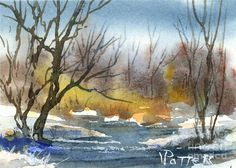 Early Winter Aceo Painting