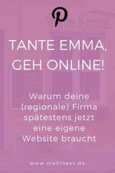 Ja, auch regionale Geschäfte brauchen heute unbedingt eine eigene Website und nicht nur ein Facebook-Profil. Lies hier, warum. Content Marketing, Online Marketing, Web Design, Earn Money Online, Online Business, Social Media, Facebook, Tips, Inspiration