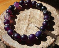 Vente 30% de rabais. Code promo SPRING30/ Bracelet élastique. Agate rubanée violet.Bracelet mala, Bracelet yoga. Bracelet femme. de la boutique CreationL sur Etsy