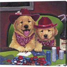 Trademark Art 'Poker Dogs' by Jenny Newland Graphic Art on Wrapped Canvas Size: Dog Grooming Shop, Dog Training Treats, Dog Treats, Dog Accessories, Animal Drawings, Animal Illustrations, Dog Illustration, Dog Art, Dog Toys