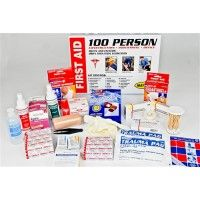 """Metal First Aid Cabinet (100 person). Kit contains: 100-Adhesive Bandage 1"""" x 3"""" 100-Adhesive Bandage 3"""" x 3/4"""" 10-Knuckle Bandage 10-Fingertip Bandage 1-Eye Cup 10-Gauze Pads 3-Gauze Rolls 1-Scissor 10-Burn Cream 1-Burn Spray 3 oz. 10-Antibiotic Ointment 10-Antiseptic Towelettes 1-Eye Wash 4 oz. 1-Tape Roll 1-Triangular Bandage 1-Trauma Pad 4-Examination Gloves 1-Instant Cold Compress 1-Tweez 1-Antiseptic Spray 3 oz. 40-Alcohol Pads er 1-First Aid Guide 100-Cotton Tip Applicators 1-Elastic…"""