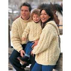 This great aran cable pullover pattern includes versions with crew neck and with a hood, and also comes in sizes for men, women and children. Free Pattern