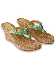 Turquoise Stone High Wedge Sandals ~ also birthday and Christmas wishlisted!