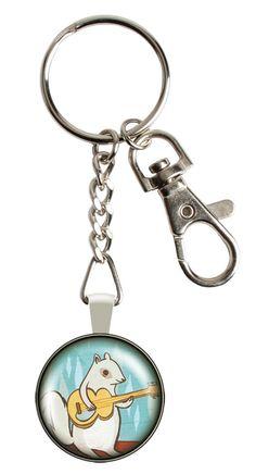 Squirrel Glass Keychain by boygirlparty! $9 at https://www.etsy.com/listing/155428705/squirrel-keychain-charm-animal-keychain