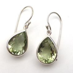 Green Amethyst Earring Faceted Teardrop   925 Sterling Silver   Aries Leo Virgo   Crystal Heart Melbourne Australia since 1986