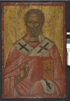 Before conservation treatment 2006. Icon painted with egg-tempera, with…