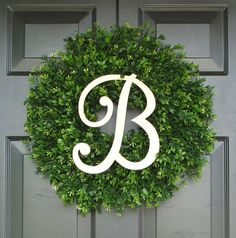 Monogram Boxwood Wreath, Monogram Wreath, Outdoor Decor, Fall Wreath, Etsy Wreath 20 INCH