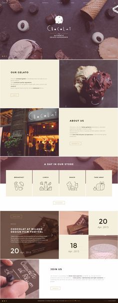 Collage inspired website with cute icons and love the photography editing and colour palette - Chocolat, creative shop design Layout Design, Layout Web, Site Web Design, Theme Design, Graphisches Design, Email Design, Blog Design, Good Web Design, Modern Web Design