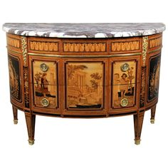 Unique Late 19th Century Inlaid Marquetry Commode by Paul Sormani | From a unique collection of antique and modern cabinets at https://www.1stdibs.com/furniture/storage-case-pieces/cabinets/