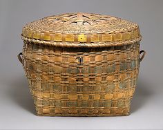 Lidded Storage Basket    Date:      ca. 1840  Geography:      United States, Maine  Culture:      Passamaquoddy (?)  Medium:      Ash splint, wood, pigment  Dimensions:      H. 14 1/2 x W. 24 x D. 15 in. (36.8 x 61 x 38.1 cm)  Classification:      Basketry-Containers  Credit Line:      Ralph T. Coe Collection, Gift of Ralph T. Coe Foundation for the Arts, 2011  Accession Number:      2011.154.29a, b
