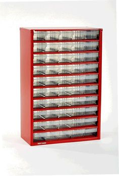Perfect for loom bands, A NEW RAACO RED 50 x Drawer Storage/Organiser Cabinet