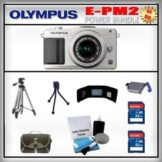 Olympus PEN E-PM2 Silver 16MP Digital Camera - Olympus 14-42mm Lens - 2x 32GB SDHC Memory Card - USB Memory Card Reader - Memory Card Wallet - Carrying Case - Lens Cleaning Kit - Full Size and Mini Tripods by Olympus. $639.99. Olympus E-PM2  Featuring the 16 megapixel Live MOS sensor of the OM-D E-M5, the Olympus Micro Four Thirds flagship, the PEN E-PM2PM2, is optimized to maximize the performance of all mZuiko digital lenses in any shooting condition. Improvements to th...