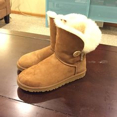 Bailey button boots Only worn a few times. Some water marks on left boot will try to get out before purchase. Besides that, great condition. Will be shipped with original box UGG Shoes Winter & Rain Boots