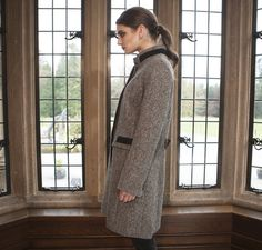 Middleton Knee Coat - Grey Salt & Pepper Tweed Ladies Jackets, Jackets For Women, Donegal, Salt And Pepper, One Size Fits All, Tweed, High Neck Dress, Coats, Grey