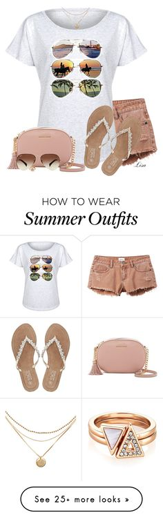 """Summertime Shades"" by lmm2nd on Polyvore featuring RVCA, Board Life, M&Co, MICHAEL Michael Kors and Ray-Ban"