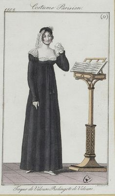 A lady in mourning perhaps singing some sad music. Costume parisien, 1808