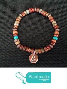 Red Creek Jasper and Turquoise Stretch Bracelet with Copper Buddha Charm from Red Creek Spirit Jewelry http://www.amazon.com/dp/B0169KLT5Y/ref=hnd_sw_r_pi_dp_txBgwb01FQVRK #handmadeatamazon