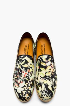 WHITE MOUNTAINEERING Black & Green Floral Loafers