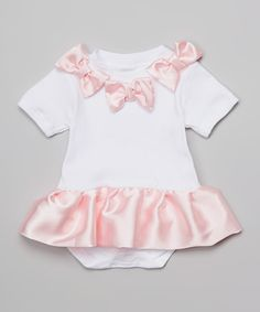 Look at this Caught Ya Lookin' Pink Satin Skirted Bodysuit - Infant on #zulily today!