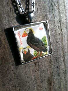Tufted Puffins Necklace  Dome Pendant Tray by MichellesVarietyShop