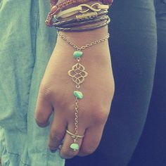 Hand chain/Slave bracelet Faraway - beautiful details with brass charm and turquoise beads chain ring  =)