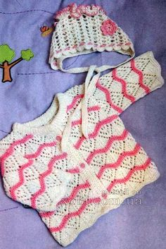 кофточка для девочки с узором волна и чепчик