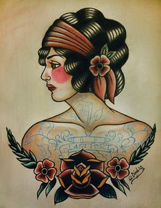 Alte Schule Flapper Tattoo Flash