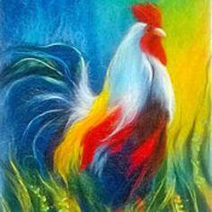 Творческая мастерская Арт-чудо. Просвещения, 62. Chicken Painting, Chicken Art, Felt Fabric, Fabric Art, Wet Felting, Needle Felting, Felt Pictures, Coloring Book Art, Wool Art