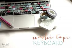 Cover your keyboard with washi tape | Hey Love Designs