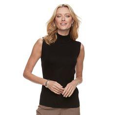 Women's Dana Buchman Sleeveless Turtleneck Top, Size: Large, Black