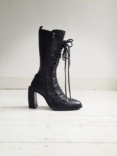 Ann Demeulemeester black triple lace boots - fall 2008   V A N II T A S