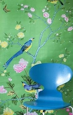 Light Emerald green Chinoiserie Style wallpaper.  What is it about birds in branches wallpaper ?  love it !! Would put it in Grammie's sitting room.